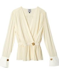 THE ASHLYNN - Woori Silk Wrap With Cuff Blouse Ivory - Lyst