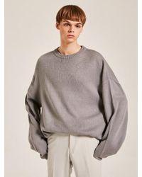 YAN13 - Oversize Line Knit Jumper Grey - Lyst