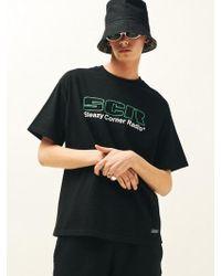 SLEAZY CORNER - Scr Logo Half T-shirt Black - Lyst