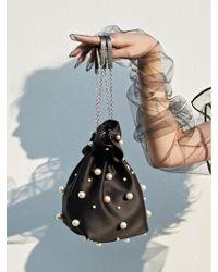 UNDER82 - Alice Pearl Pouch Bag Mini Black - Lyst