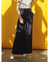 COLLABOTORY - High Waist Navy Wide Trousers - Lyst