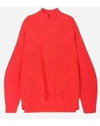 a.t.corner - Red Wool Unbalance Wave Jumper - Lyst