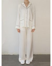 W Concept - 2 Pocket Pj And Lounge Set Cream - Lyst