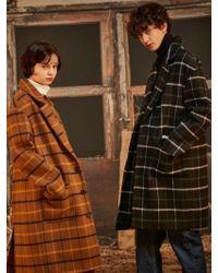 LIBERTENG - [unisex]oversized Wool Check Coat Charcoal - Lyst