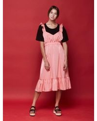 W Concept - Frill Layered Dress Pink - Lyst