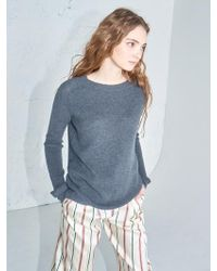 AYIHOLIC CASHMERE - Merino Wool Side Slit Knit Top Charcoal - Lyst