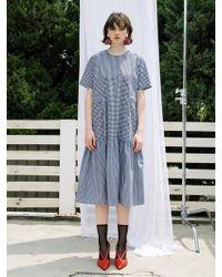 F.COCOROMIZ - Gingham Ruffle Dress Navy - Lyst