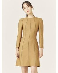 W Concept - Camel Wool Silk Stitch Mini Dress - Lyst