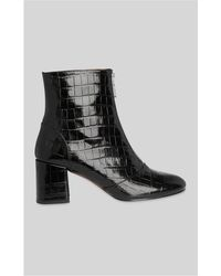 Whistles - Rowan Croc Zip Front Ankle Boots - Lyst