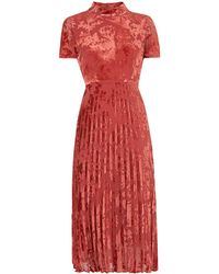 Whistles - Harlow Pleated Devore Dress - Lyst