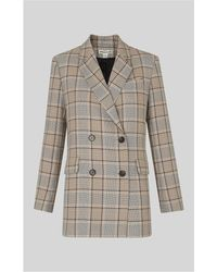 Whistles - Check Double Breasted Blazer - Lyst