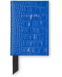 Whistles - Sea Blue Croc Passport Holder - Lyst