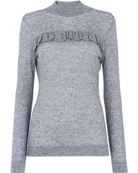 Whistles - Frill Detail Wool Mix Top - Lyst