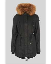 Whistles - Faux Fur Lined Waxy Parka - Lyst