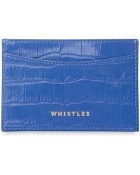 Whistles - Sea Blue Croc Cardholder - Lyst