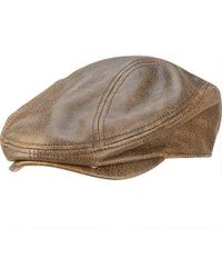 0b9e57fc7ca30 Stetson Distressed Leather Ivy Cap (brown) Caps in Brown for Men - Lyst