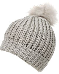 4a9d6050db8 Wilsons Leather - Black Rivet Cuff Beanie With Pom - Lyst