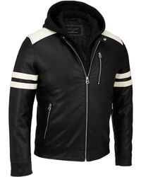 Wilsons Leather - Faux-leather Moto Jacket W/ Storm Collar - Lyst