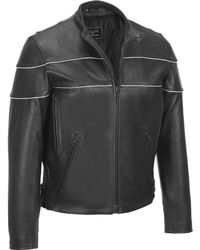 Wilsons Leather - Performance Reflective Stripe Leather Motorcycle Jacket - Lyst