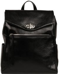 Wilsons Leather - Roma Flap Over Leather Backpack W/ Stitching - Lyst