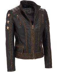Wilsons Leather - Plus Size Black Rivet Distressed Stars And Stripes Center Zip Leather Jacket - Lyst