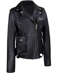 Wilsons Leather - Wilsons Vintage Center Zip Open Collar Cycle Leather Jacket - Lyst