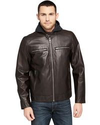 Wilsons Leather - Famous Maker Rugged Faux-leather Jacket W/ Hood - Lyst