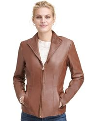 Wilsons Leather - Designer Brand Zip Front Convertible Collar Leather Jacket - Lyst