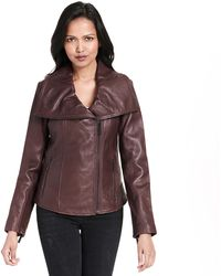 Wilsons Leather - Web Buster Asymmetrical Leather Jacket W/ Drape Front Collar - Lyst