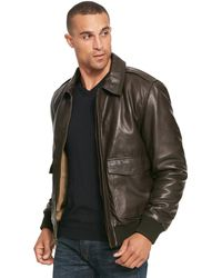 Wilsons Leather - Bomber Lamb Jacket W/ Flag Print Lining - Lyst