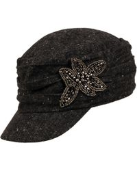 Wilsons Leather - David And Young Wool-blend Military Hat W/ Flower Applique - Lyst