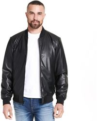 efd4cb59d210 Wilsons Leather - Designer Brand Knit Trim Faux-leather Bomber - Lyst