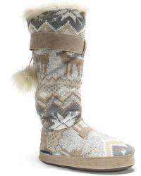 Wilsons Leather - Muk Luks® Tall Deer Print Knit Bootie - Lyst