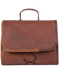MAHI - Leather Hanging Wash Toiletry Bag Dopp Kit In Vintage Brown With Hook - Lyst