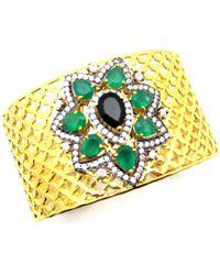 Meghna Jewels - Ahalei Cuff Green Onyx & Cubic Ziconia - Lyst