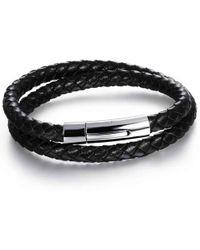 N'damus London - Mens Black Leather Double Plaited Bracelet With Silver Clasp - Lyst