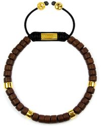 Clariste Jewelry - Men's Ceramic Bead Bracelet Brown & Gold - Lyst