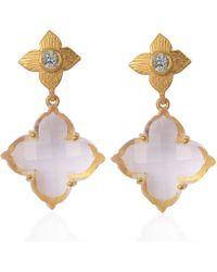Emma Chapman Jewels - Throwing Star Rose Cut Crystal Aquamarine Chanderlier Earrings - Lyst