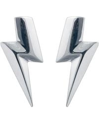 Edge Only - 3d Flat Top Lightning Bolt Earrings Silver - Lyst