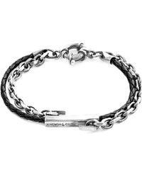 Anchor & Crew Coal Black Belfast Silver & Braided Leather Bracelet - Metallic