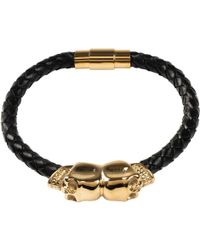 LÁTELITA London - Black Leather Skull Bracelet Gold - Lyst