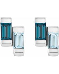 Neola - Anais Sterling Silver Stud Earrings With London & Blue Topaz - Lyst