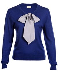 Asneh - Helen Sweater Blue With Silver Grey Silk Tie - Lyst