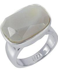 Nadia Minkoff - Semi Precious Horizontal Ring Silver With Agate - Lyst
