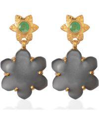 Emma Chapman Jewels - Jamila Black Moonstone Emerald Earrings - Lyst