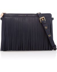 London Velvet - Midnight Blue Fringe Clutch - Lyst
