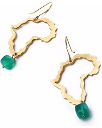 Nakibirango-London - Gold Africa And Jade Earring - Lyst