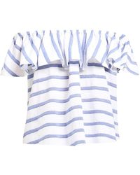 Paisie - Off The Shoulder Striped Frilled Crop Top - Lyst