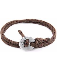 Anchor & Crew - Dark Brown Clyde Silver & Leather Bracelet - Lyst
