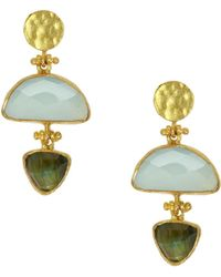 Ottoman Hands - Trilogy Triangle Labradorite And Aqua Chalcedony Drop Earrings - Lyst